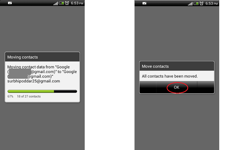 Move contacts to Google account - 2