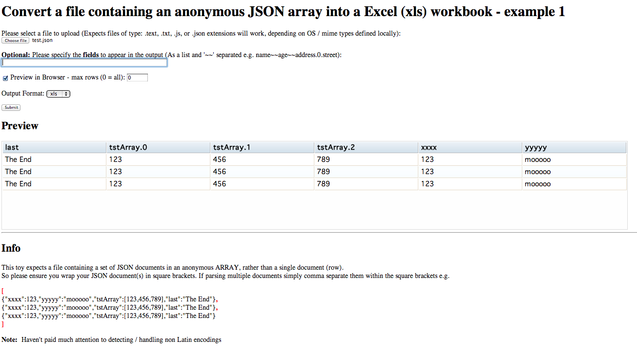 Using Perl to preview in a Web Page and convert a JSON document into