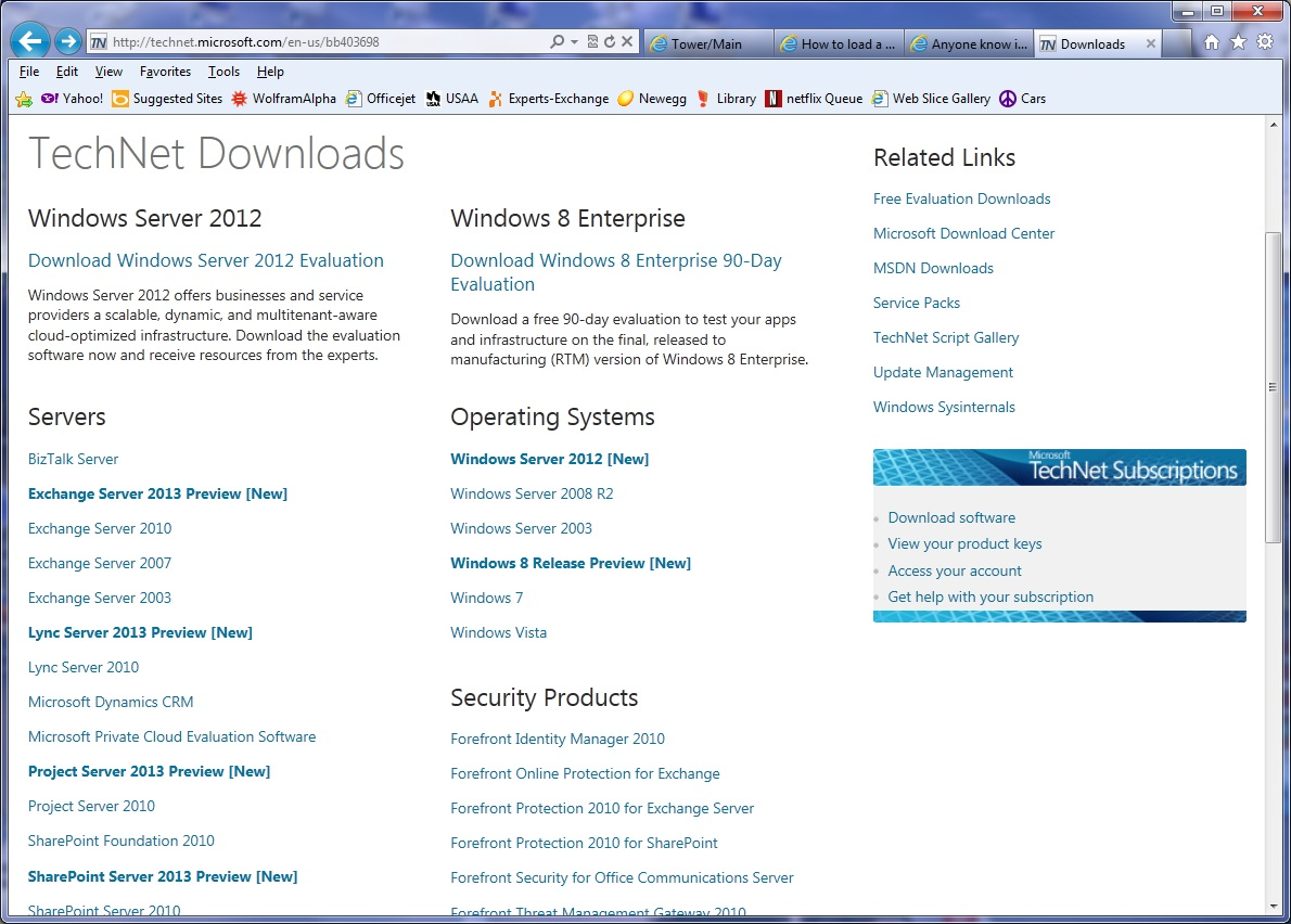 Anyone know if a Technet subscription includes Server 2012