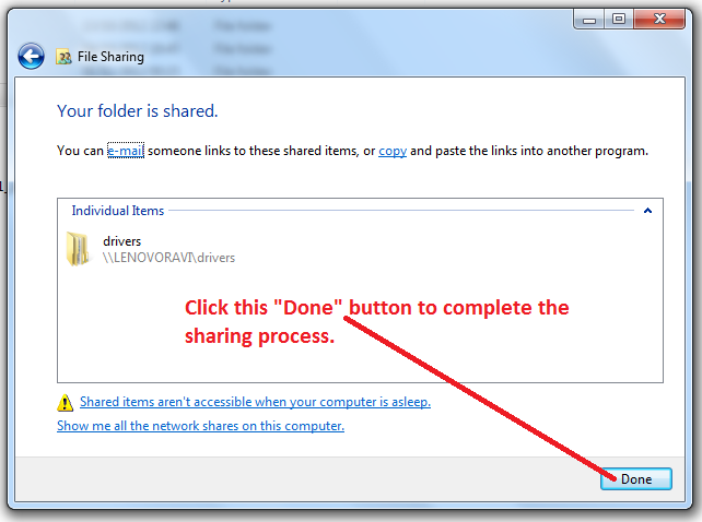 Windows 7 File Share procedure Picture 5