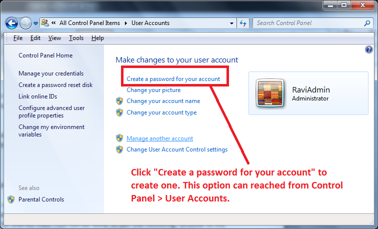 Create a Password for your User Account in Windows 7