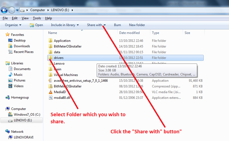 Windows 7 File Share procedure Picture 1
