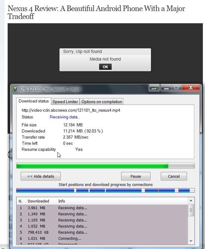 Internet Download Manager starts downloading media files