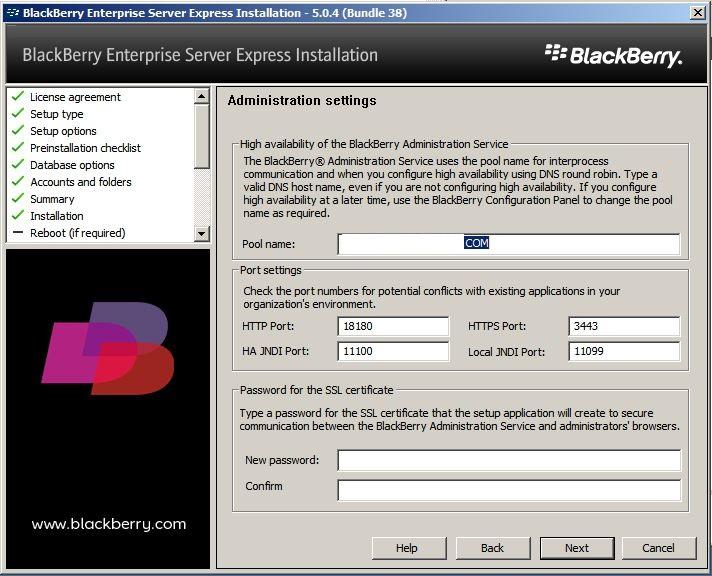Blackberry Enterprise Server Express New Server