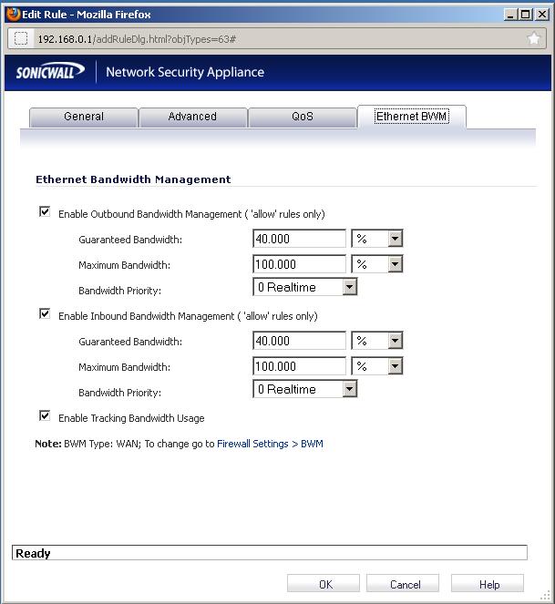 Bandwidth Management on LAN-->WAN rule