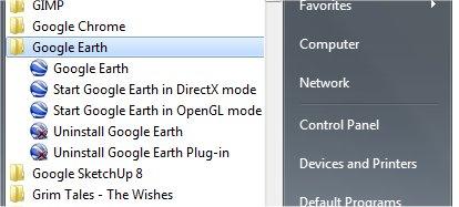 Google earth directx mode not working