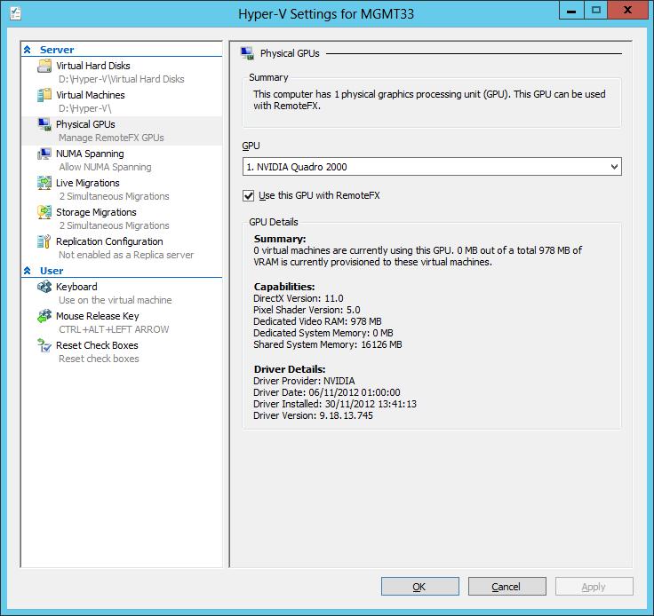 Hyper-V Settings - RemoteFX