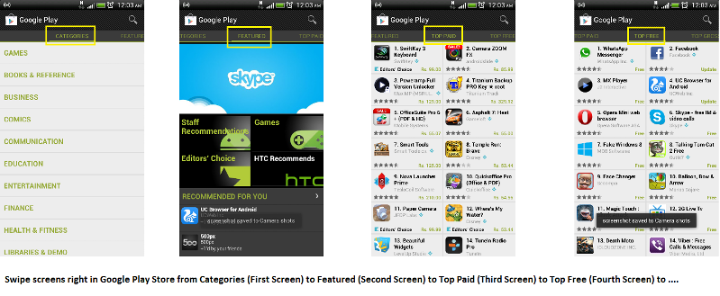 play store screens one