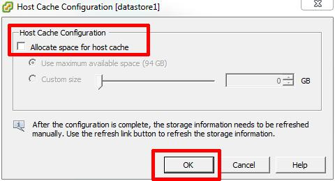 Host Cache Configuration properties