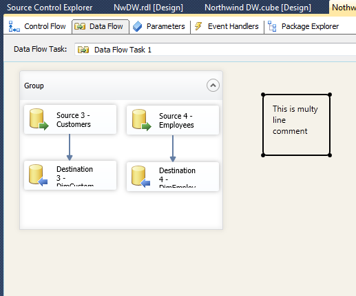 Grouping  and multiline comment in Data flow