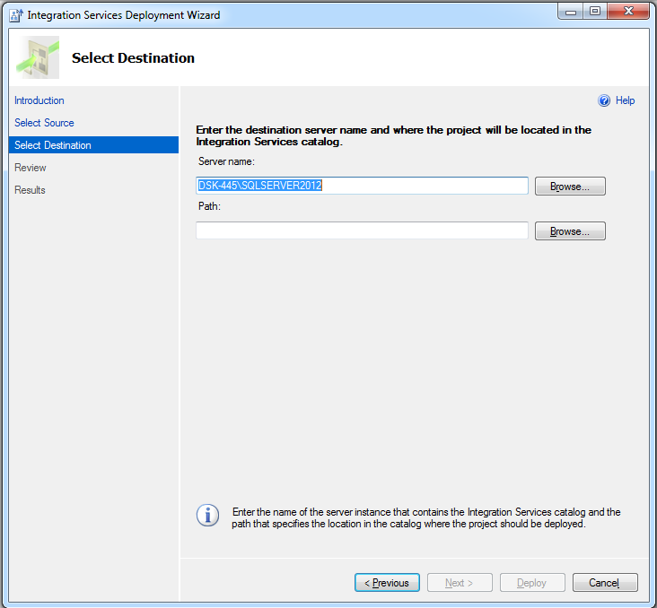 SSIS project deployment