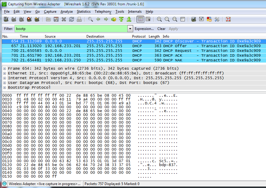 How do I use wireshark to capture dhcp request