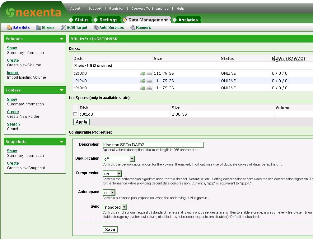 ZFS on Nextenta vm, configuration     slow performance