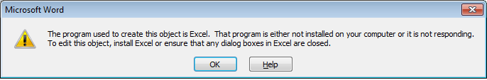 Unable to open embedded Excel spreadsheet in Word 2010