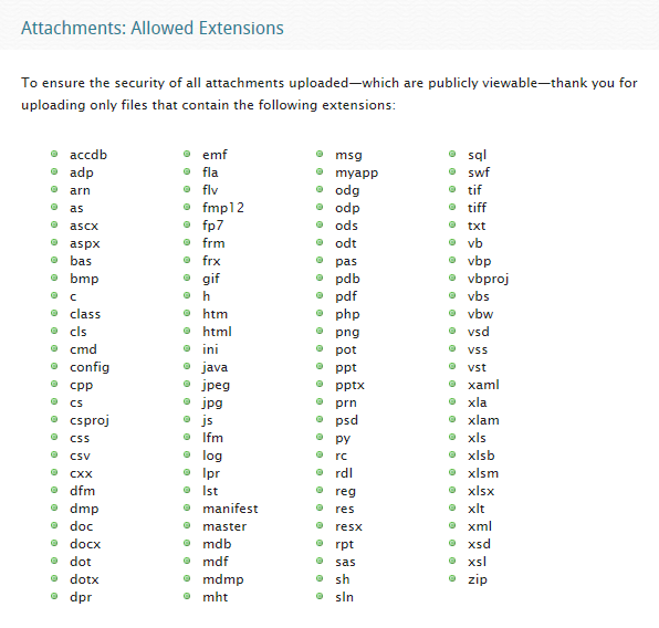 Attachments - Allowed Extensions