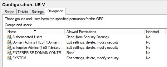 This GPO does not have any Deny permissions set (which show as Advanced setting).