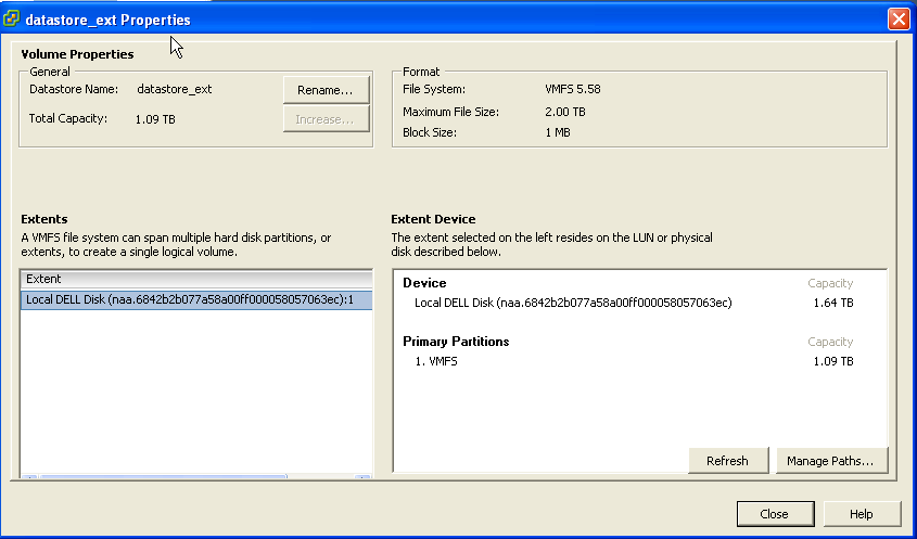 Can't increase datastore size in VMWare ESXi 5 1