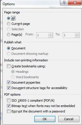 options I'm using for pdf creation in office 2010