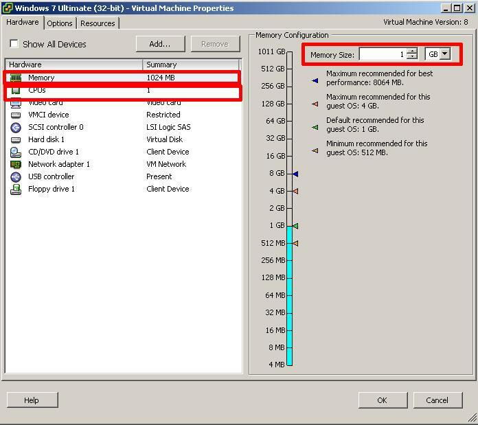 Windows 7 VM Change Memory