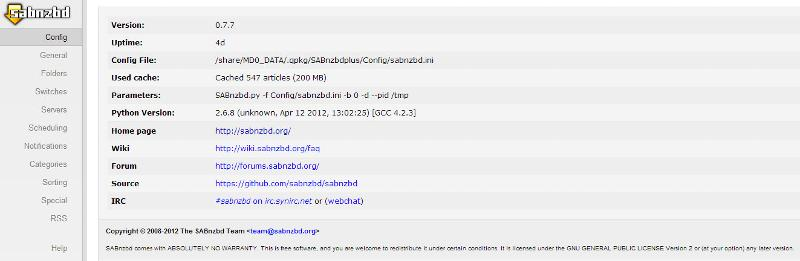 Sabnzbd config page