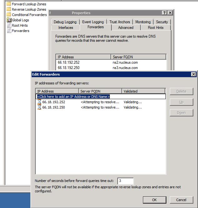 DNS Forwarder Setting