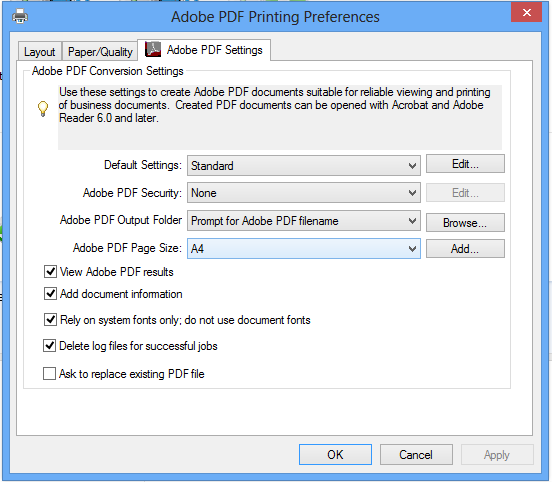 Adobe PDF Printer Preferences