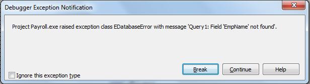 query error msg