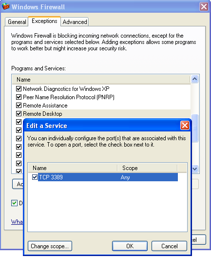 XP - Firewall - Remote Desktop