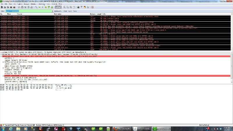 Wireshark screen