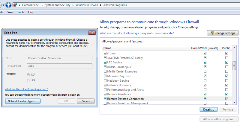 Win7 - Firewall - Allow Remote Desktop