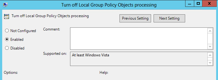 "Enabling ""Turn off Local GPO Processing"""