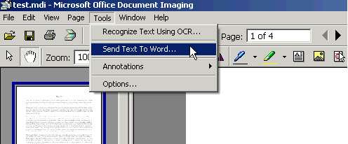 Send text to word menu item
