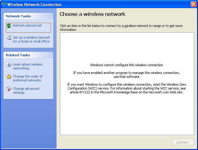 View Available Wireless Networks with 3rd Party Connection Manager