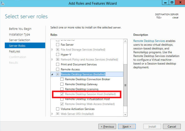 RD Service in Windows 2012 Server