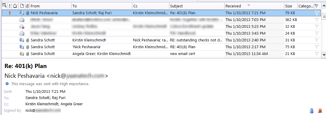 User can't open encrypted email in Outlook when she is the