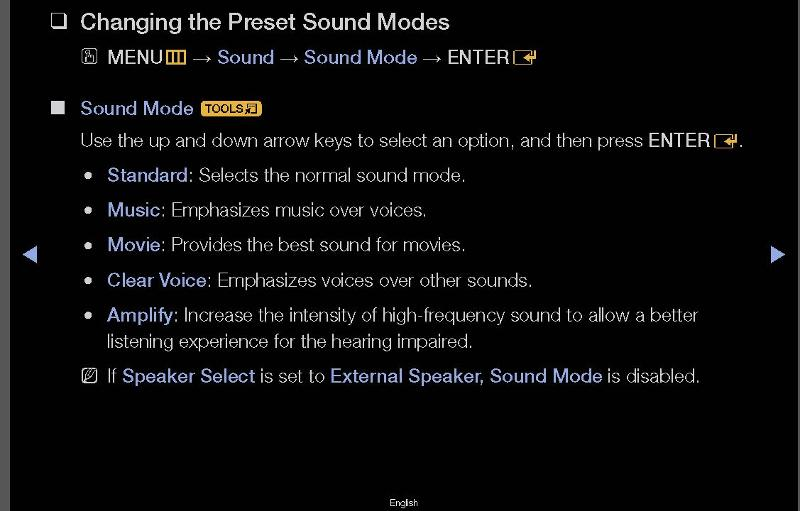 external speakers selected sound mode is turned off