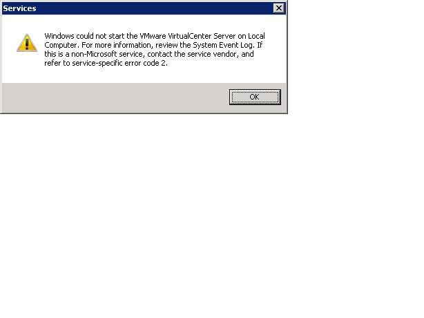 VCenter Service Start Error