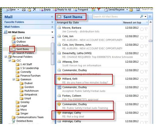 Conflict Message are created in the send items folder in
