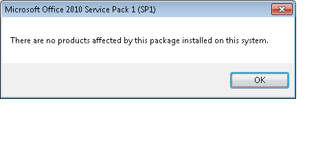 Office 2010 SP Update Error