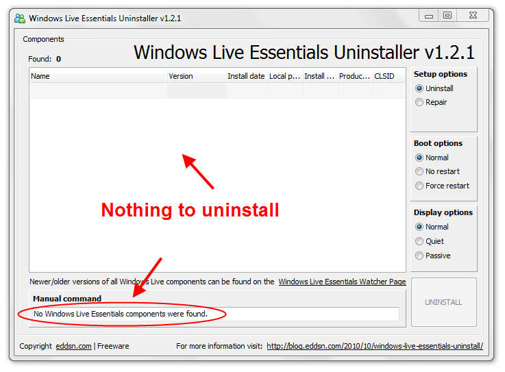 Trying to uninstall Windows Essential