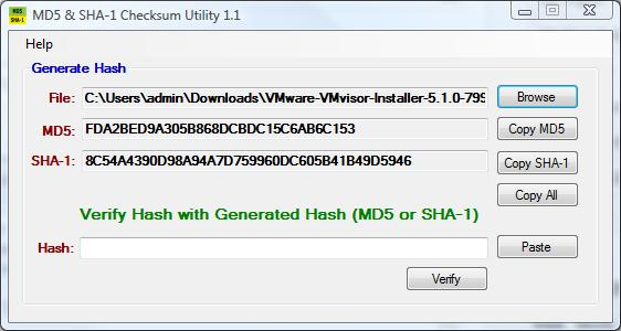 MD5 & SHA1 checksum confirmed with published checksums for VMware-VMvisor-Installer-5.1.0-799733.x86_64.iso