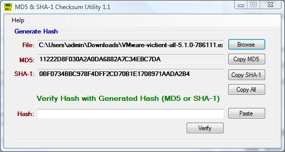 MD5 & SHA1 checksum confirmed with published checksums for VMware-viclient-all-5.1.0-786111.exe
