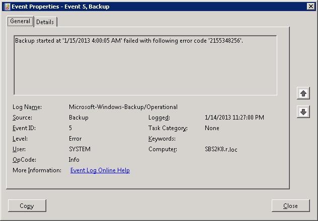 Screenshot of event viewer