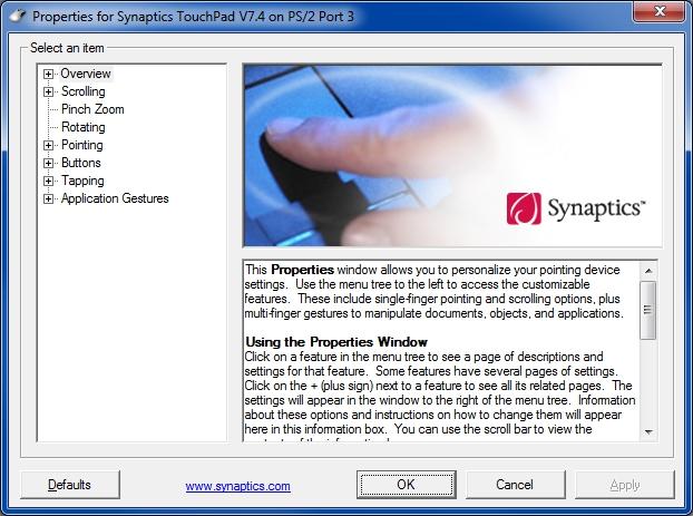 Synaptics touchpad properties
