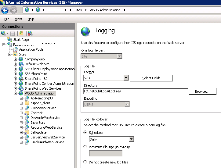 IIS Log Folder Location