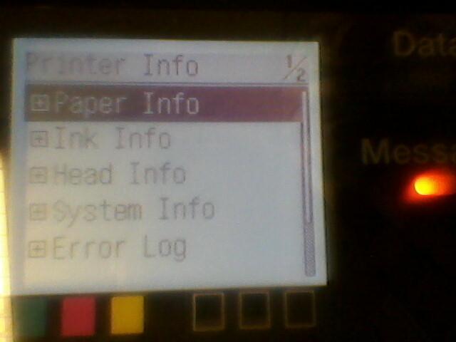 Printer Info menu