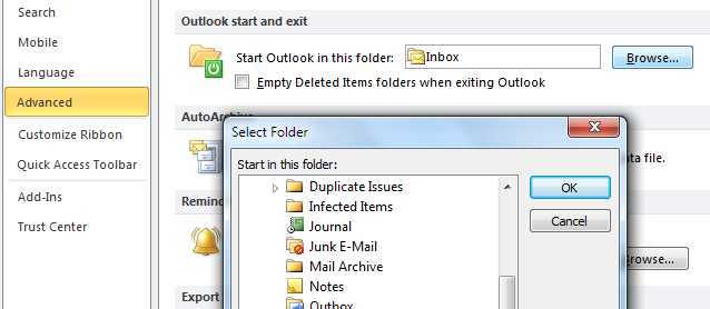 Outlook start and exit
