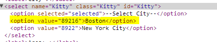 Screen shot of Chrome Dev Tools showing 'City' <select> values