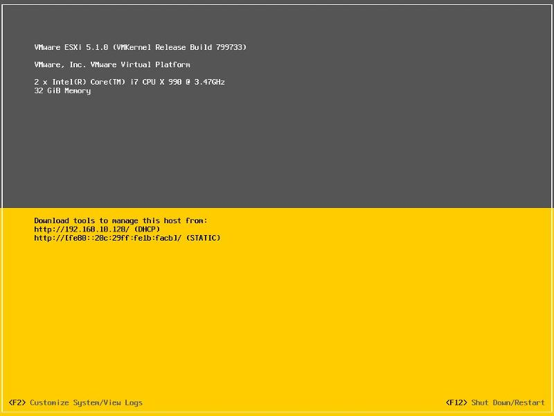 ESXi 5.1.0 fully booted
