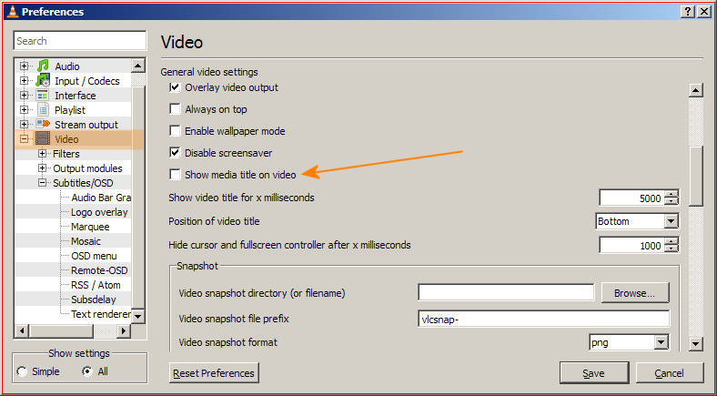 VLC snapshots from video stream with added date and time overlay